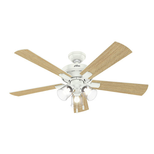 Hunter 54204 52 in. Crestfield Fresh White Ceiling Fan with Light image number 2