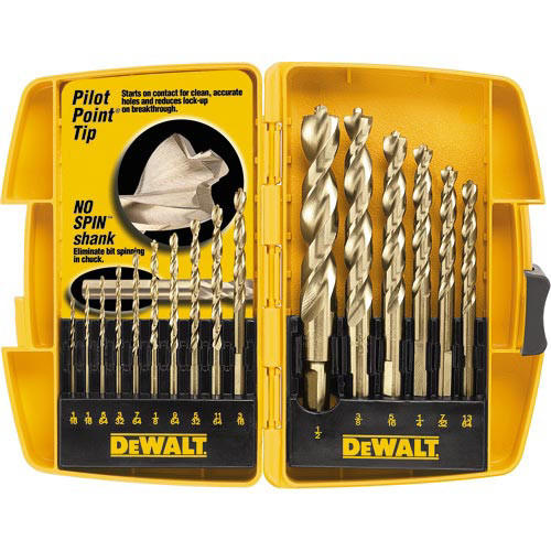 Dewalt DW1956 16-Piece Pilot Point and Drill Bit Set image number 0