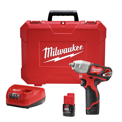 Milwaukee 2463-22 M12 12V Cordless Lithium-Ion 3/8 in. Impact Wrench Kit image number 0