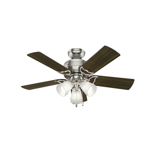Hunter 51106 42 in. Prim Brushed Nickel Ceiling Fan with Light