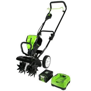 Greenworks 2800302 TL80L210 80V 10 in. Tiller with 2.0 Ah Battery and Charger