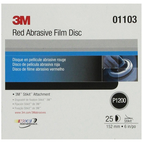 3M 1103 6 in. P1200 Red Abrasive Stikit Disc (25-Pack) image number 0
