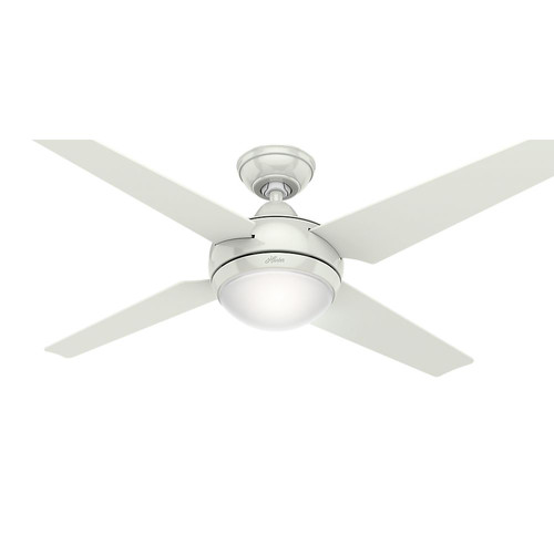 Hunter 59073 52 in. Sonic White Ceiling Fan with Light with Handheld Remote