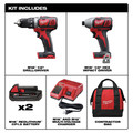 Milwaukee 2691-22 M18 Lithium-Ion 1/2 in. Cordless Drill Driver and 1/4 in. Impact Driver Combo Kit image number 1
