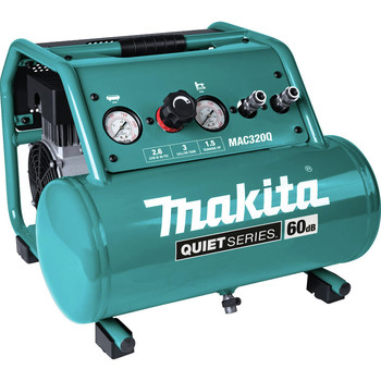 Makita MAC320Q Quiet Series 1-1/2 HP 3 Gallon Oil-Free Hand Carry Air Compressor