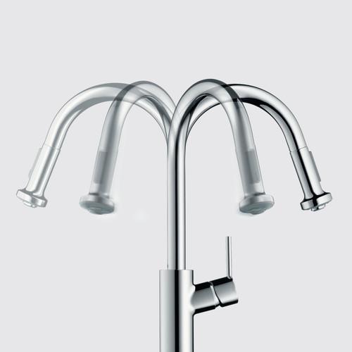 Hansgrohe 39840801 Axor Citterio 2 Spray Semi Pro Kitchen Faucet Steel Optik