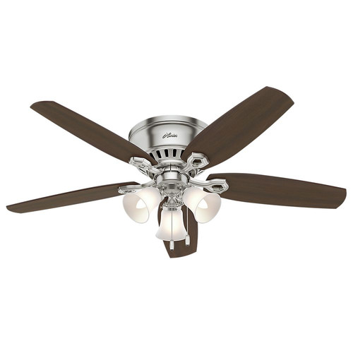 Hunter 53328 52 in. Builder Low Profile Brushed Nickel Ceiling Fan with Light image number 0