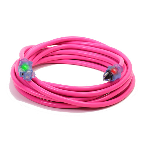 Century Wire D17445050 Pro Glo 15 Amp 12/3 AWG CGM SJTW Extension Cord - 50 ft. (Pink)