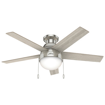 Hunter 50278 46 in. Anslee Brushed Nickel Ceiling Fan with LED Light Kit and Pull Chain
