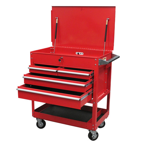 Sunex 8054 4-Drawer Service Cart with Locking Top (Red)