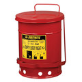 Justrite 9100 Oily Waste Can, 6gal, Red
