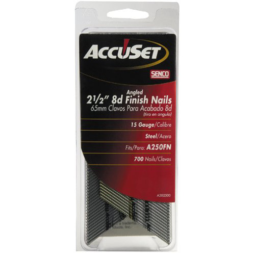 SENCO A302500 15-Gauge 2-1/2 in. Bright Basic Angled Finish Nails (700-Pack)