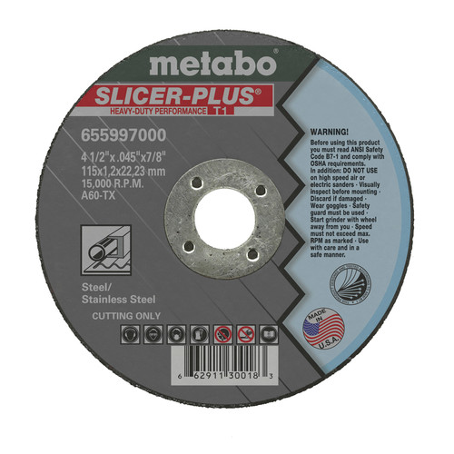 Metabo 655997000-50 4-1/2 in. x 0.045 in. A60TX Type 1 SLICER-PLUS High Performance Cutting Wheels (50-Pack)