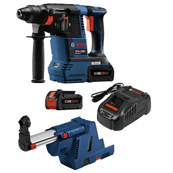 Factory Reconditioned Bosch GBH18V-26K24GDE-RT 18V Lithium-Ion Brushless 1 in. Cordless Rotary Hammer Kit with Dust Collection Attachment (6.3 Ah)