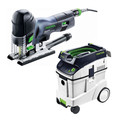 Festool PS 420 EBQ Carvex Barrel Grip Jigsaw with CT 48 E 12.7 Gallon HEPA Dust Extractor