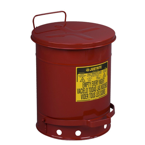 Justrite 09300 10-Gallon Oily Waste Can for General Use