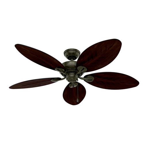 Hunter 54098 54 in. Bayview Provencal Gold Antique Dark Wicker ETL Damp Rated Outdoor Ceiling Fan
