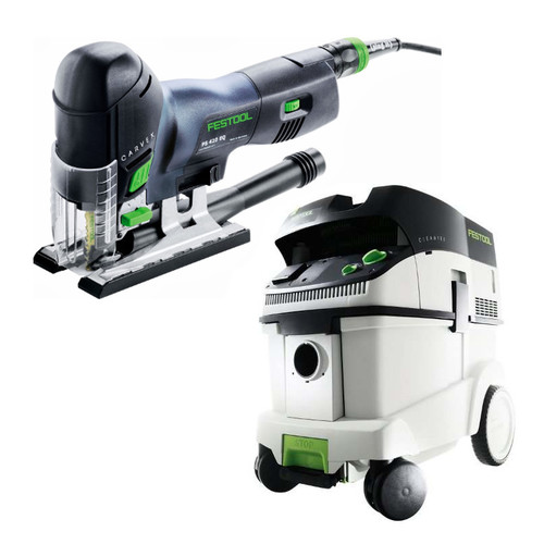 Festool PS 420 EBQ Carvex Barrel Grip Jigsaw with CT 36 E 9.5 Gallon HEPA Mobile Dust Extractor