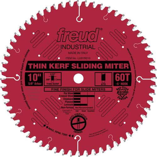 Freud LU91R010 10 in. 60 Tooth Thin Kerf Sliding Compound Miter Saw Blade