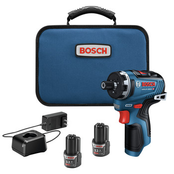 Bosch GSR12V-300HXB22 12V Max Brushless Lithium-Ion Two-Speed Hex 1/4 in. Cordless Screwdriver Kit (2 Ah)