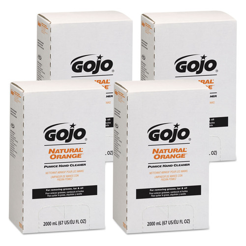 GOJO Industries 7255-04 NATURAL ORANGE Pumice Hand Cleaner Refill, Citrus Scent, 2000mL, 4/Carton image number 0