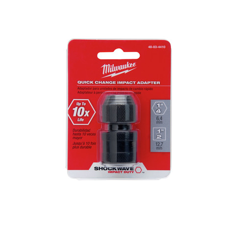 Milwaukee 48-03-4410 1/2 in. Square x 1/4 in. Hex Shockwave Impact Adapter image number 0