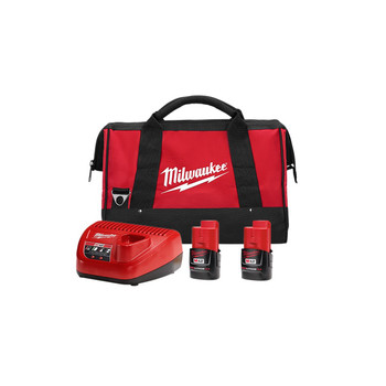 Milwaukee 48-59-2422P M12 REDLITHIUM CP 2 Ah Lithium-Ion Battery (2-Pack), Charger, & Bag Kit