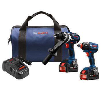 Bosch GXL18V-225B24 18V 6.3 Ah Cordless Lithium-Ion Hammer Drill and Impact Driver Combo Kit
