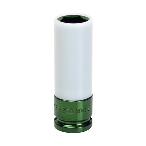 Sunex 28492 1/2 in. Drive 3/4 in. SAE Extra Thin Wall Deep Wheel Protector Impact Socket (Light Green) image number 0
