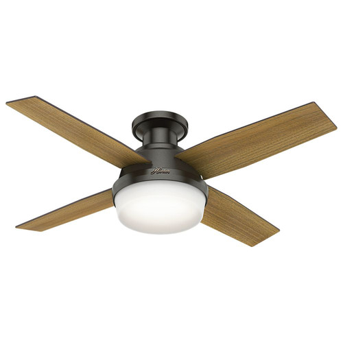 Hunter 59445 44 in. Dempsey Low Profile with Light Noble Bronze Ceiling Fan with Light with Handheld Remote