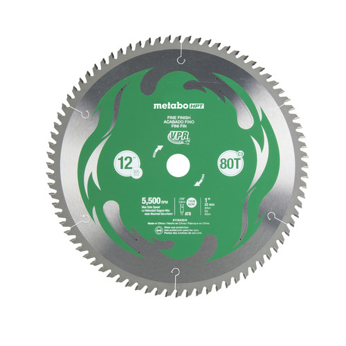 Metabo HPT 115436M 12 in. 80-Tooth Fine Finish VPR Blade image number 0