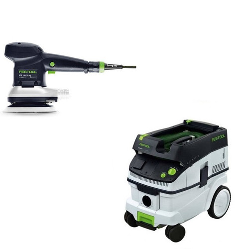 Festool ETS 150/5 EQ 6 in. Random Orbital Finish Sander with CT 26 E 6.9 Gallon HEPA Dust Extractor