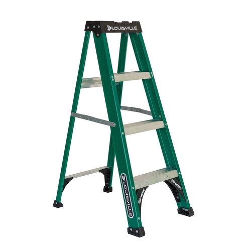 Louisville FS4004 4 ft. Type II 225 lbs. Load Capacity Fiberglass Step Ladder image number 0