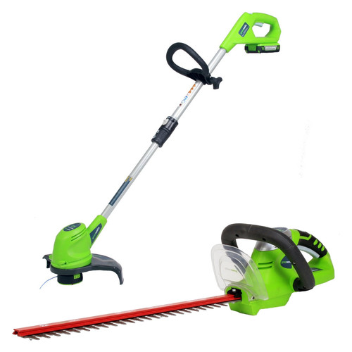 Greenworks TRIMSET032016-BNDL 20V Cordless Lithium-Ion String Trimmer & Hedge Trimmer Set