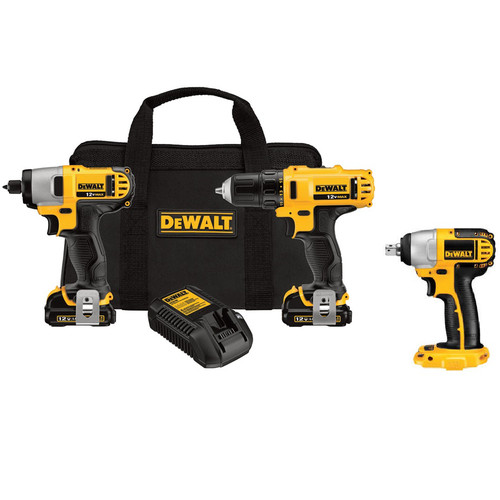 Dewalt DCK211S2IM 12V MAX Cordless Li-Ion Drill & Impact Driver Combo Kit with 12V MAX 3/8 in. Impact Wrench