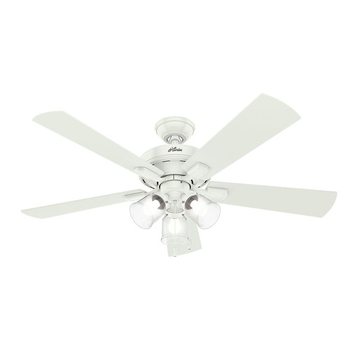 Hunter 54204 52 in. Crestfield Fresh White Ceiling Fan with Light image number 0