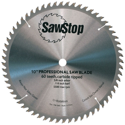 SawStop CB104 184 10 in. 60-Tooth Combination Table Saw Blade image number 0