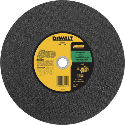 Dewalt DW8024 14 in. x 1/8 in. C24P Masonry Cutting Wheels (10-Pack)