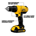 Dewalt DCD771C2 20V MAX Compact Lithium-Ion 1/2 in. Cordless Drill/Driver Kit (1.3 Ah) image number 4