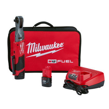 Milwaukee 2557-22 M12 FUEL 3/8 in. Ratchet Kit with (2) Li-Ion Batteries