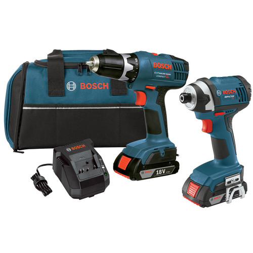 Factory Reconditioned Bosch CLPK25-180-RT 18V Cordless Lithium-Ion 3/8 in. Drill Driver and Impact Driver Combo Kit