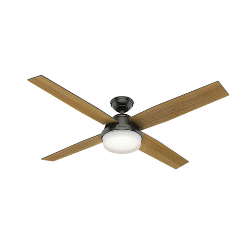Hunter 59443 60 in. Dempsey with Light Noble Bronze Ceiling Fan with Light with Handheld Remote