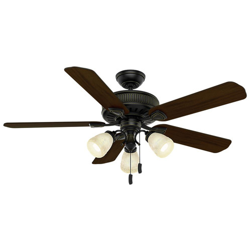 Casablanca 54007 54 in. Ainsworth Gallery 3 Light Basque Black Ceiling Fan with Light