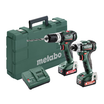 Metabo 685165520 PowerMaxx 12V 4.0 Ah LiHD SSD 12 BL Cordless Impact Driver and SB 12 BL Hammer Drill Combo Kit image number 0
