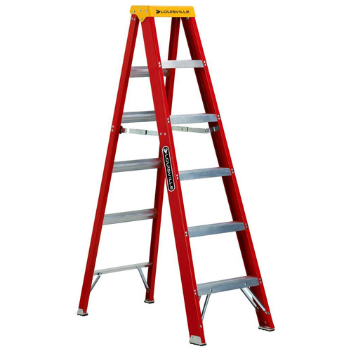 Louisville L-3016-06 6 ft. Type IA Duty Rating 300 lbs. Load Capacity Fiberglass Step Ladder image number 0