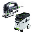 Festool PSB 420 EBQ Carvex D-Handle Jigsaw with CT 36 E 9.5 Gallon HEPA Mobile Dust Extractor