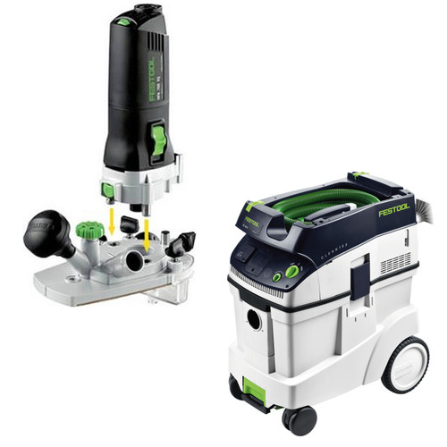 Festool MFK 700 Modular Trim Router with CT 48 E 12.7 Gallon HEPA Dust Extractor