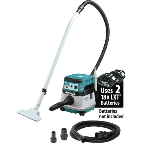 Makita XCV08Z 18V X2 LXT Lithium-Ion (36V) Brushless 2.1 Gallon HEPA Filter Dry Dust Extractor/Vacuum with AWS (Tool Only)