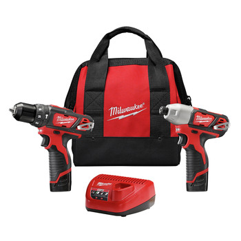 Milwaukee 2497-22 M12 Lithium-Ion 3/8 in. Hammer Drill and Impact Driver Combo Kit