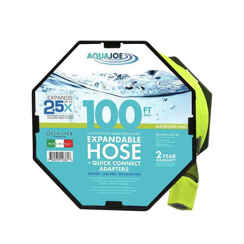 Sun Joe AJEXH100-SJG PRO 100-Ft Expandable Gelastex Lightweight Kink-Free Hose w/Quick Connectors